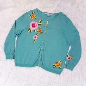 CAbi Light Blue Cardigan w/ Flowers Embroidery